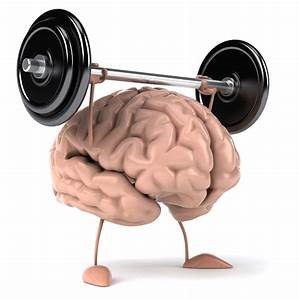 Exercising brain. Brain lifting weight